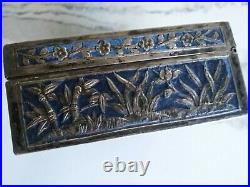 Exceptional Antique Chinese Sterling Silver and Enamel Box One Of A Kind