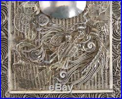 Exceptional Chinese Export Silver Filigree Dragons Card Case w Original Box