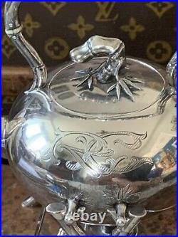 Exceptional Wang Hing Chinese Export Sterling Silver Bamboo Teapot