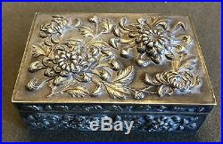 FINE 1890's CHINESE EXPORT LUEN WO STERLING SILVER FLORAL REPOUSSE CIGAR BOX