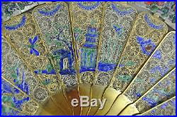 Fine 19th C. Century Chinese Gilt Silver Filigree Enamels Volong With Box Fan