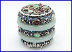 Fine Antique Chinese Silver Enamel Filigree Hardstone Jadeite Bangle Box