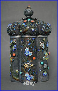 Fine Collectable Chinese Export Markd Gilt Solid Silver Enamel Box Birds Flowers