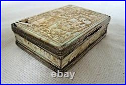 FINE GEORGIAN / CHINESE QING c1800 MOTHER OF PEARL & SILVER SNUFF BOX