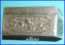FINE QUALITY ANTIQUE CHINESE SOLID SILVER GOLD GILT BOX CASKET BIRDS PEONY