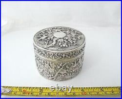 Fabulous antique Chinese Export silver box Hung Chong c 1890