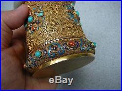 Fantastic Chinese gold gilt silver covered tea cannister jadeite bracelet mount