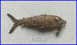 Filigree Articulated Fish Pendant Vintage Silver Gilt Pill Box Koi Steampunk 3