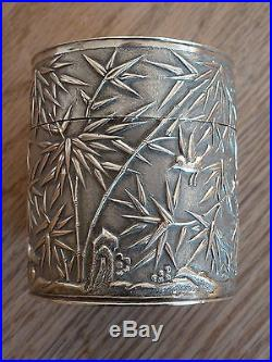 Fine 19THC Chinese Export Silver Tea Caddy decorated with birds and bamboo