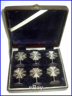 Fine Boxed Set 6 Antique Chinese Sterling Silver Spider Web Place Card Holders