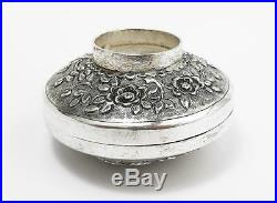 Fine CHINESE SILVER Embossed CIRCULAR BOX c1900 DRAGONS