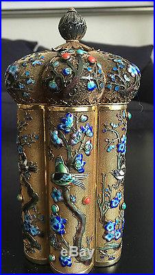 Fine Chinese FiligreeJeweled & Enamel Birds on Branches Tea Caddy Box