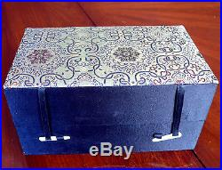 Fine Chinese Silver Filigree Jeweled & Enamel Birds on Branches Tea Caddy Box