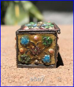 Fine Old Chinese Export Enamel Silver Flower Landscape Cloisonne Snuff Pill Box