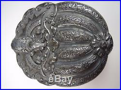 Fine Rare Antique Chinese Sterling Silver Moth Box early 19th century SIGNED