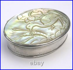 Fine antique European & Chinese silver & MOP carved novelty Snuff Box C. 17/18thC
