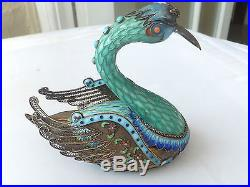 Fine chinese silver swan enamel covered box and cover