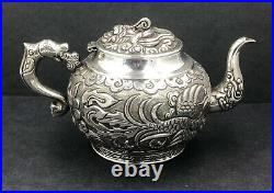Finely decorated Dragon Chinese silver teapot