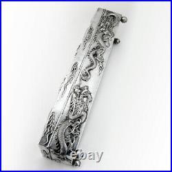 Five Claw Dragon Long Box Ball Feet Chinese Export Silver Wang Hing