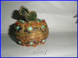 Good Chinese Silver Filigree Enamel Coral Turquoise Gourd Covered Box