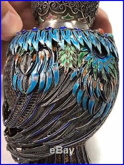 Gorgeous Chinese Gilt Sterling Silver Multi Enamel Inlay Stone OWL Tea Caddy Box