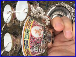 Gorgeous set 6 CHINESE Porcelain & Silver Tea Cups Saucers & Spoons Saigon w Box
