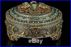 Jan033 Chinese Tibetan Silver Coral Gemstone Lazuli Kwanyin Buddha Round Box