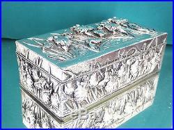 Japanese Chinese Box export Solid Silver Kuhn & Komor (Shanghai) Iris 572 gr