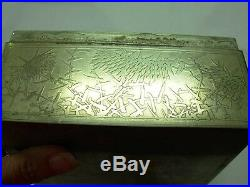 LARGE ANTIQUE CHINESE EXPORT SILVER WOOD LINED CIGAR OR JEWELRY BOX w MEDALLION