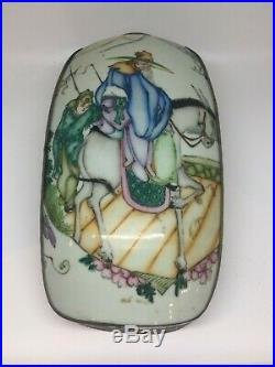 LARGE Antique Chinese Porcelain Shard in Silver Plated Box with Man Riding Horse