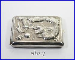 LATE 19th ANTIQUE CHINESE EXPORT STERLING SILVER CIGARETTE CASE BOX DRAGON
