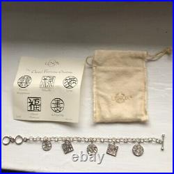 LENOX Sterling Silver GOODFORTUNE Bracelet Chinese Symbols Charms 7-8 Retired
