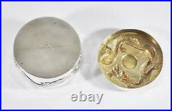Large 143 Grams Antique Chinese Export Sterling Silver Trinket Box Dragon Sun