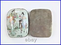 Large Antique Chinese Porcelain Shard Inlaid Silver Plated Copper Box