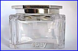 Large Antique Sterling Silver Chinese Art Deco Guilloche Enamel Powder Box Jar