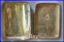 Large Antq Chinese Qing Pottery Shard RARE 11 Figures Scene Porcelain Silver Box