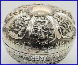 Large CHINESE EXPORT solid silver 12 PANEL BOX. Foo dogs, dragons, tortoise 1900