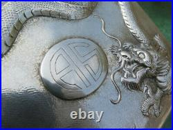 Large Chinese Export Box Antique Sterling Silver Dragons Handmade Heavy Old Rare