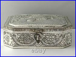 Large Chinese Solid Silver Box 386g