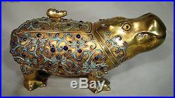 Large Vintage Chinese Enamel Gilt Sterling Silver Hippo Box