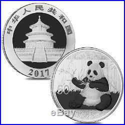 Lot of 2 2017 150 gram Chinese Silver Panda 50 Yuan. 999 Fine Proof withBox & C