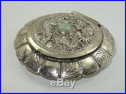 MID 20c HIGH RELIEF ORNATE DRAGON PHOENIX MOTIF CHINESE EXPORT SILVER COMPACT