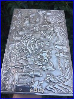Magnificent Antique 19thC Chinese ExportSolid Silver Scene Box, Da Xing C1860