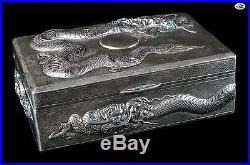 Magnificent Antique Asian Chinese Silver Stamped 85 Dragon & Sun Box