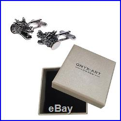 Mens Silver 3D Dragon Head Cufflinks & Gift Box Chinese Welsh Gift By Onyx Art