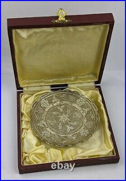 Mid C20th Indian or Chinese Silver Filigree Dish Boxed Very Fine Quality 65 gram