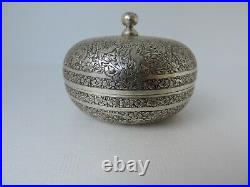 Museum Antique 19th C Chinese Persian Ottoman Islamic Solid Silver Apple Box