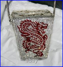 New Judith Leiber Chinese Silver Takeout Box