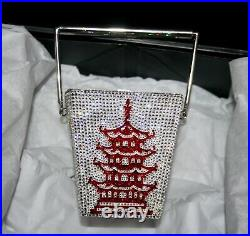 New Judith Leiber Chinese Silver Takeout Box Pagoda