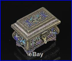 OLD CHINESE ENAMELED GILT SILVER COVERED CHEST BOX W NICE FORM
